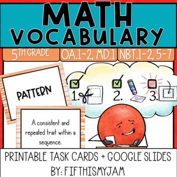5th Grade Math Vocabulary Memory Cards Unit 2