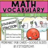 5th Grade Math Vocabulary Memory Cards Unit 3