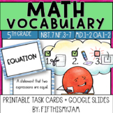 5th Grade Math Vocabulary Memory Cards Unit 4