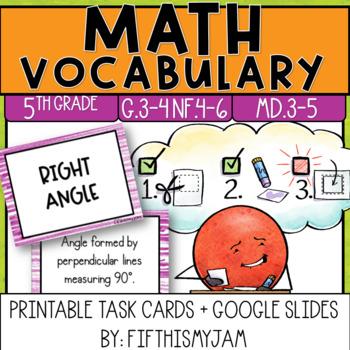 5th Grade Math Vocabulary Memory Cards Unit 5