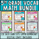 5th Grade Math Vocabulary Memory Cards Bundle Units 1 - 6