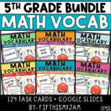 5th Grade Math Vocabulary Memory Cards Bundle Units 1 - 6