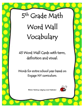 5th Grade Math Vocabulary Word Wall Display Cards