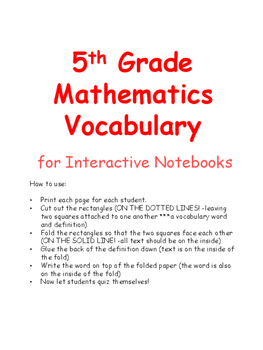 5th Grade Math Vocabulary for Interactive Notebook