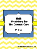 5th Grade Math Vocabulary for The Common Core