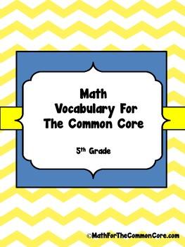 5th Grade Math Vocabulary for The Common Core