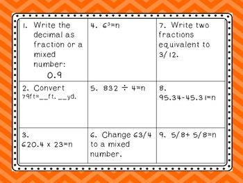 Math Wall ~ 4th Nine Weeks  5th Grade