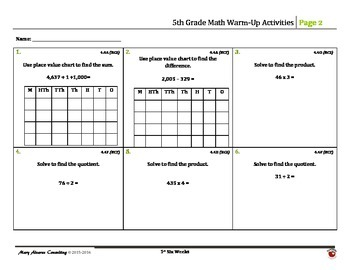 5th Grade Math Warm-Up Activities