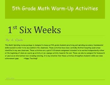 5th Grade Math Warm-Up Activities