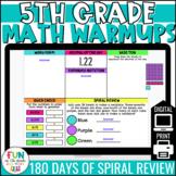 5th Grade Morning Work | Math Warm Ups | Digital | Test Prep Spiral Review