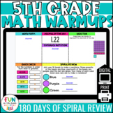 5th Grade Math Morning Work | Digital Math Warm Ups | Distance Learning