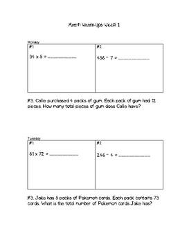 5th Grade Math Warm-Ups Week #1