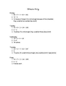 5th Grade Math Warm-Ups Week #4