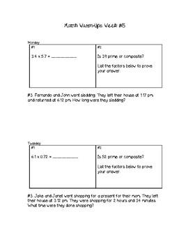 5th Grade Math Warm-Ups Week #5