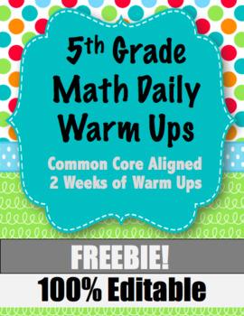 5th Grade Math Warm Ups for the FREEBIE