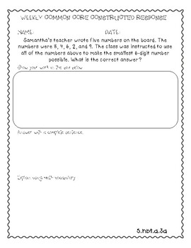 5th Grade Math Weekly Constructed Response Word Problems