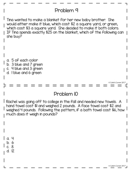 5th Grade Math Word Problems Set 1
