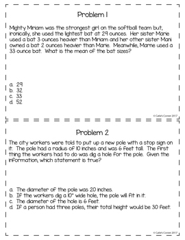 5th Grade Math Word Problems Set 2