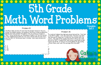 5th Grade Math Word Problems Set 3