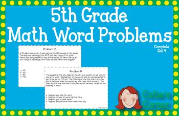 5th Grade Math Word Problems Set 4