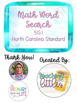 5th Grade Math Word Search 5.G.1 North Carolina