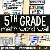 5th Grade Math Word Wall - print and digital