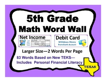 5th Grade Math Word Wall for Texas TEKS--2 per page