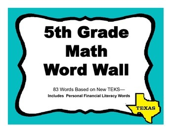 5th Grade Math Word Wall For Texas Teks 3 Per Page