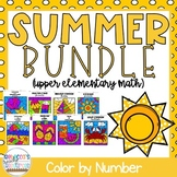 5th Grade Math Worksheets: Summer/End-of-the-Year Color by Number Bundle