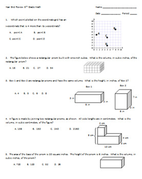5th Grade Math Year End Review Test