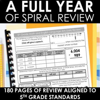 5th Grade Morning Work, Homework, Spiral Review - Math and ELA