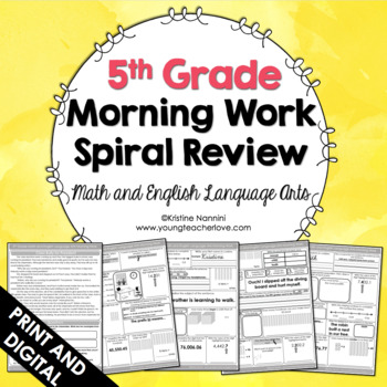 5th Grade Math ELA - Spiral Review - Distance Learning
