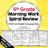 5th Grade Math ELA Morning Work - Spiral Review - Back to School