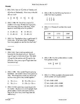 5th Grade Math daily review week 17