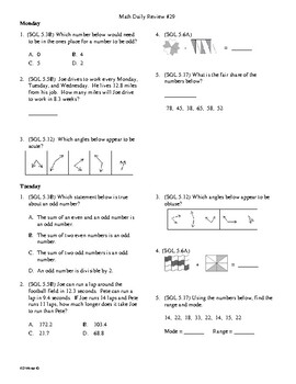 5th Grade Math daily review week 29