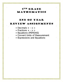 5th Grade Math End of Year Assignments