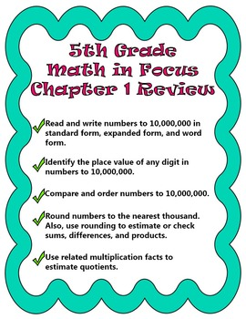 5th Grade- Math in Focus- Chapter 1 Review