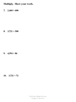 5th Grade - Math in Focus - Chapter 2 Review