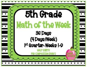 5th Grade Math of the Week 1st Quarter