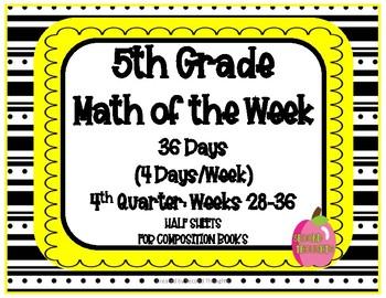 5th Grade Math of the Week 4th Quarter
