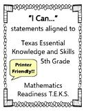 "5th Grade Mathematics ""I Can"" Statements"