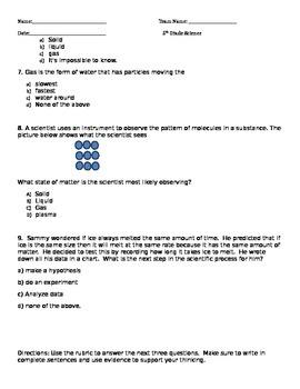 5th Grade Matter Quiz