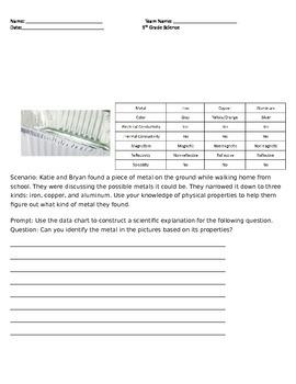 5th Grade Matter Quiz 5.SP1.3
