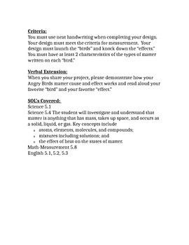 5th Grade Matter STEM Design Brief