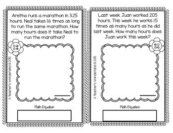 5th Grade May Word Problem Journals