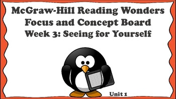 5th Grade McGraw Hill Reading Wonders Concept Focus Board Wall Unit 1 Week 3