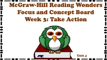 5th Grade McGraw Hill Reading Wonders Concept Focus Wall Unit 4 Week 3