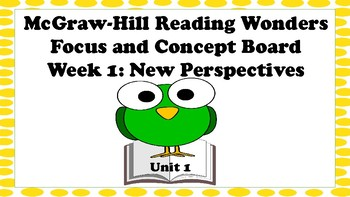 5th Grade McGraw Hill Reading Wonders Concept Focus Wall Unit 5 Week 1