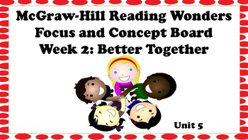 5th Grade McGraw Hill Reading Wonders Concept Focus Wall Unit 5 Week 2