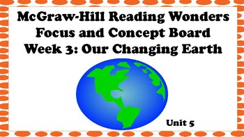 5th Grade McGraw Hill Reading Wonders Concept Focus Wall Unit 5 Week 3